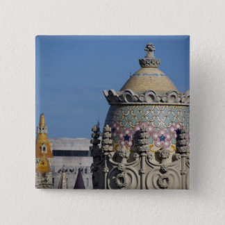 Spain, Catalonia, Barcelona. Barcelona roof top 15 Cm Square Badge