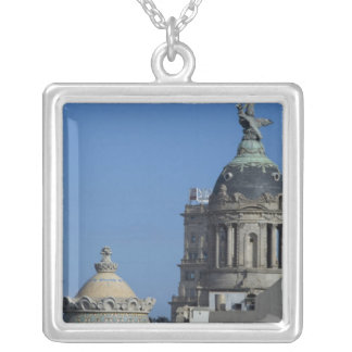 Spain, Catalonia, Barcelona. Barcelona roof top 2 Silver Plated Necklace