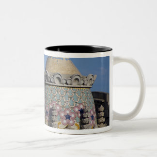 Spain, Catalonia, Barcelona. Barcelona roof top Two-Tone Coffee Mug