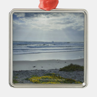 Spain Coastline with Yellow Flowers and Sun Beams Christmas Ornament