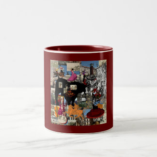 Spain collage Spanish culture gifts Two-Tone Mug