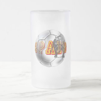 Spain contemporary soccer ball futbal fans gifts frosted glass mug