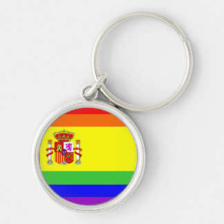 spain country gay proud rainbow flag homosexual Silver-Colored round key ring