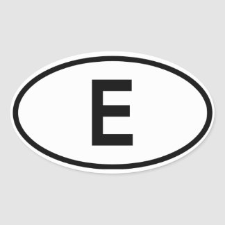 "Spain ""E"" Oval Sticker"