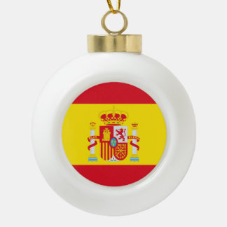 Spain Flag Ceramic Ball Christmas Ornament