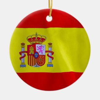 Spain Flag Double-Sided Round Christmas Ornament