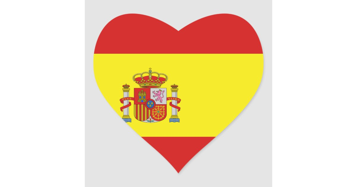 Spain flag heart sticker zazzle co uk