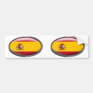 Spain Flag in Glass Oval Bumper Sticker