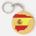Spain flag map basic round button key ring