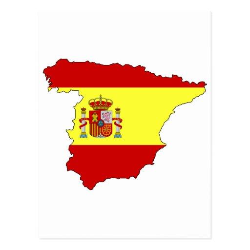 Spain flag map post card