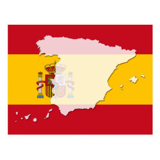 Spain flag map postcard