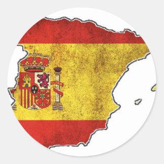 Spain Flag Map Round Sticker