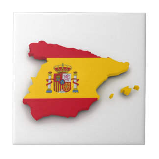 Spain Flag Map Small Square Tile