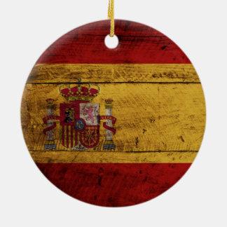 Spain Flag on Old Wood Grain Christmas Ornament
