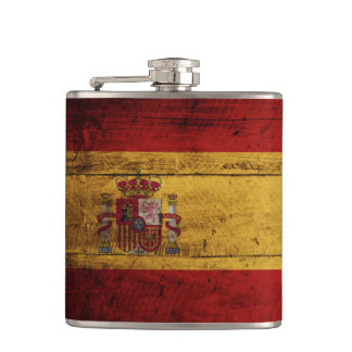 Spain Flag on Old Wood Grain Hip Flask