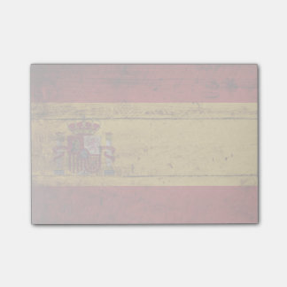 Spain Flag on Old Wood Grain Post-it® Notes