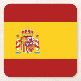 Spain flag quality square paper coaster
