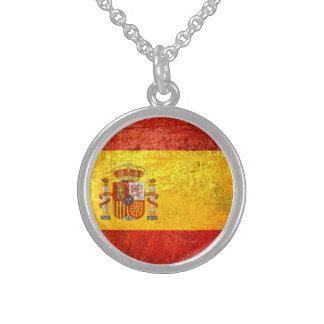 Spain flag round pendant necklace