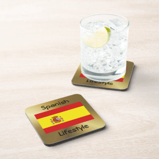 Spain Flag+Text Coaster
