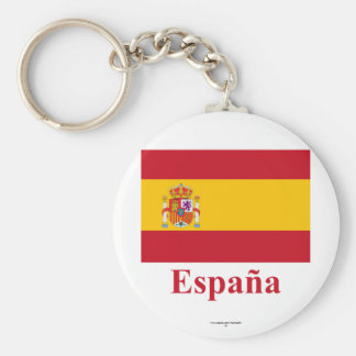 Spain Flag with Name in Spanish Key Ring