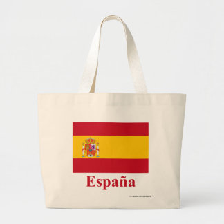 Spain Flag with Name in Spanish Large Tote Bag
