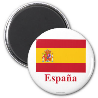 Spain Flag with Name in Spanish 6 Cm Round Magnet