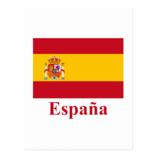 Spain Flag with Name in Spanish Postcard