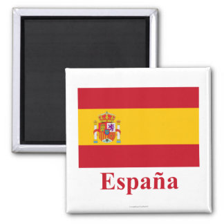 Spain Flag with Name in Spanish Square Magnet