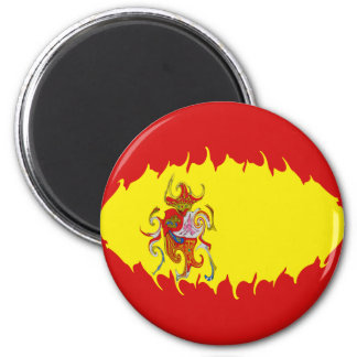 Spain Gnarly Flag 6 Cm Round Magnet