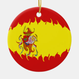 Spain Gnarly Flag Round Ceramic Decoration