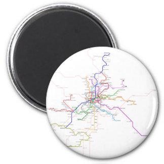 Spain-Madrid Metro Map 6 Cm Round Magnet