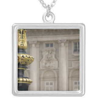 Spain, Madrid. Royal Palace, ornate gilded lamp Silver Plated Necklace
