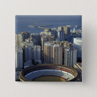 Spain, Malaga, Andalucia View of Plaza de Toros 15 Cm Square Badge