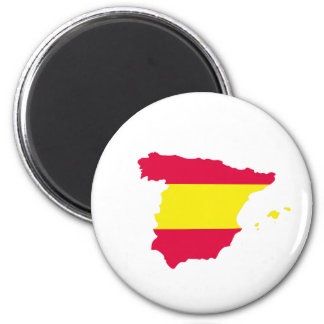 Spain Map Flag 6 Cm Round Magnet