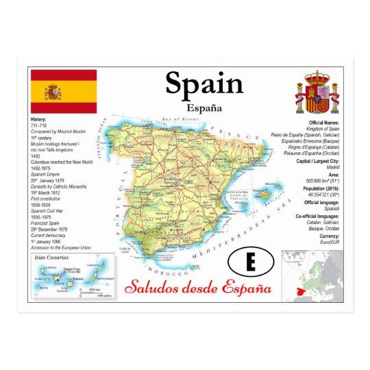 Map Of Spain 711.Spain Map Postcard