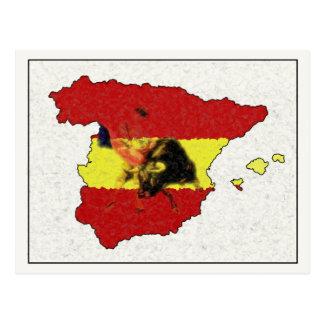 Spain Map Postcard with Bull and Matador