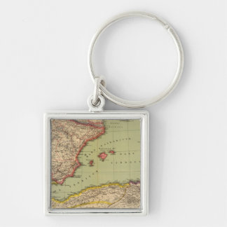 Spain, Mauritania and Africa Silver-Colored Square Key Ring