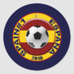 Spain number 1 2010 Soccer Gift Classic Round Sticker