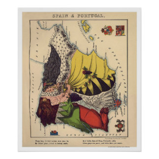 Spain & Portugal Caricature Map 1868 Poster