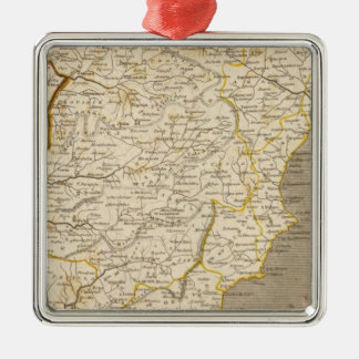 Spain, Portugal Map by Arrowsmith Silver-Colored Square Decoration