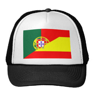 spain portugal neighbor countries half flag symbol cap