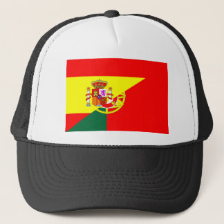 spain portugal neighbor countries half flag symbol trucker hat