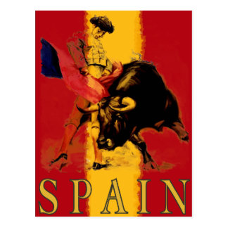 Spain Postcard with Vintage Bullfight