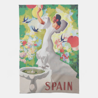 Spain Senorita Birds Flowers Fiesta Garden Kitchen Towels