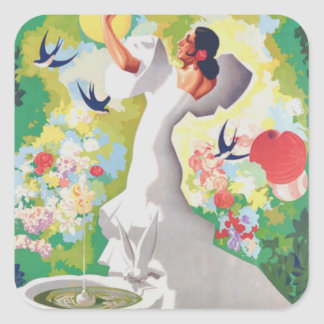 Spain Senorita Birds Flowers Fiesta Garden Square Sticker