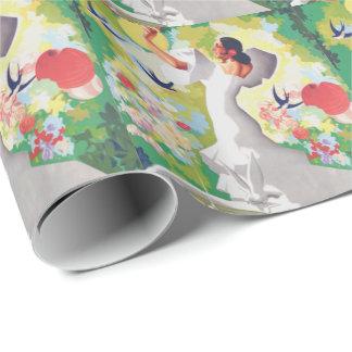 Spain Senorita Birds Flowers Fiesta Garden Wrapping Paper