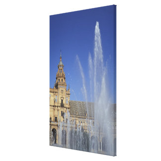 Spain, Sevilla, Andalucia Fountain and ornate Canvas Print