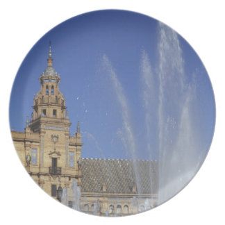 Spain, Sevilla, Andalucia Fountain and ornate Dinner Plates