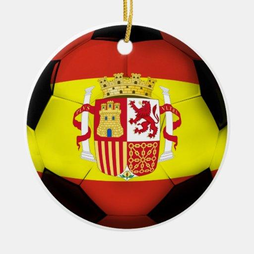 Spain Soccer Ball Christmas Ornament