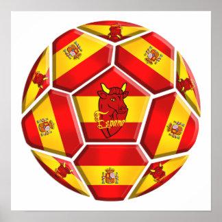 Spain soccer ball La Furia Roja Toro flags Poster